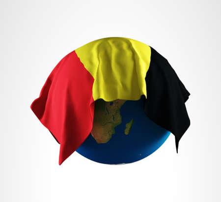 hi resolution: Tierra Bandera de B�lgica Render 3D de alta resoluci�n