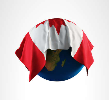 Earth Flag of Canada 3D Render Hi Resolution Stock Photo