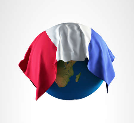 hi resolution: Tierra Bandera de Francia 3D Render alta resoluci�n Foto de archivo