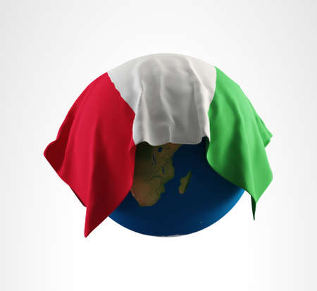 Earth Flag of Italy 3D Render Hi Resolution Stock Photo