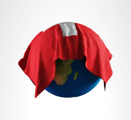 Earth Flag of Switzerland 3D Render Hi Resolution