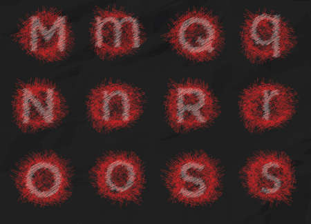Text Alphabet set 3 m - s Illustration