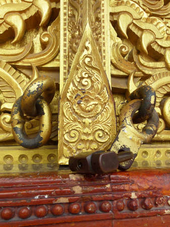 Ancient window wood in thai temple Stock Photo