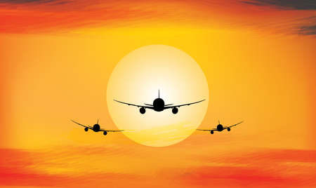 Sunset and airplane Abstract art backgrounds Vector