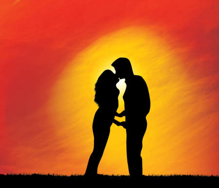 Sunset and silhouette kiss Abstract art backgrounds Vector