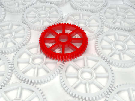 3d white red cog icon on white background Stock Photo
