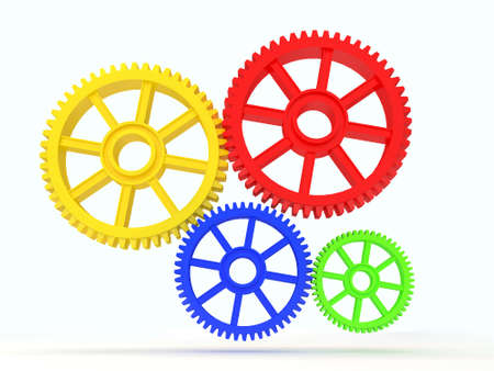 3d colourfull cog icon on white background photo
