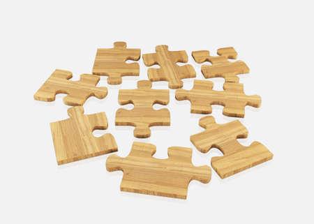 jig saw: Wood  jigsaw isolated on white Stock Photo