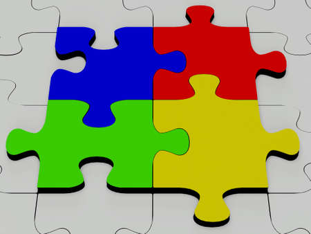 Glossy colourfull  jigsaw isolated on white Stock Photo