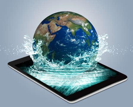 タブレット ipad で地球の水ドロップ