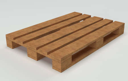 Wooden warehouse pallet shot over white background Stock Photo