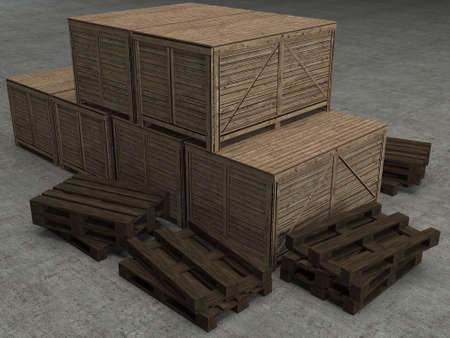 3d render wooden case photo