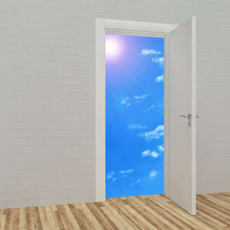 An opened door with blue sky  photo