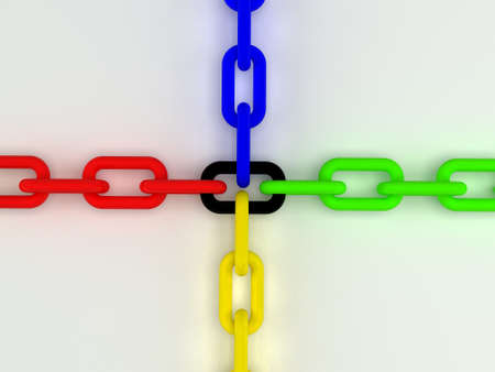 Colorful gold and black 3d chain  Computer render