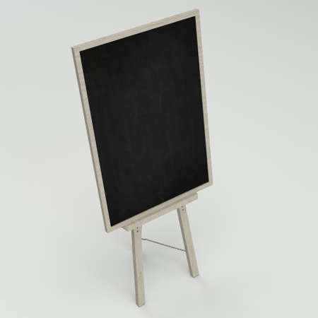 character traits: Empty blank black chalkboard with wooden frame on white