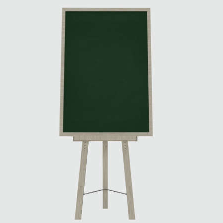 character traits: Empty blank green chalkboard with wooden frame on white Stock Photo