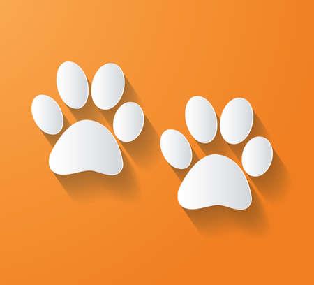 animal foot: ANIMAL FOOT PRINT Vector flat long shadow settings  - Illustration