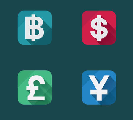 Vector illustration of flat money icons set