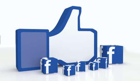 ソーシャル メディア facebook 親指を箱のようなアイコンの兆候として