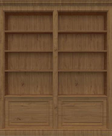Oak Wooden book shelf Stock Photo