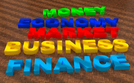 Text business finance market on wood floor photo