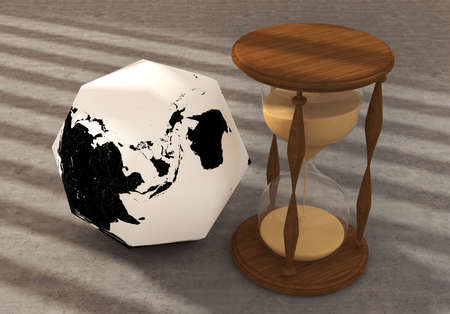Polygon Earth with clock photo