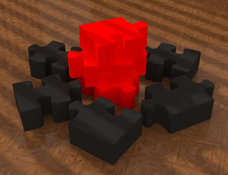 Glossy red and black  jigsaw on wood floor photo