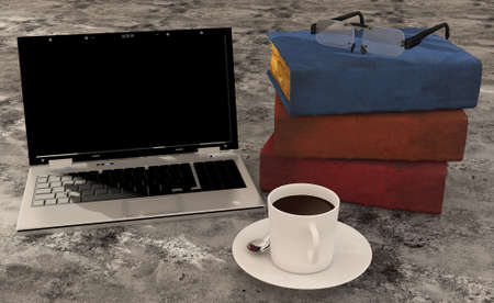 Laptop, coffee and books on floor