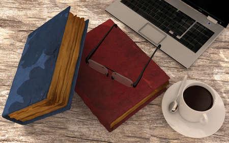 e survey: Laptop, coffee and books on floor  Stock Photo