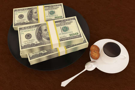 Money dollar on dish and coffee photo