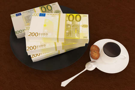 Money pound on dish and coffee photo
