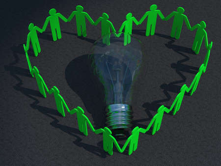 People Heart and Light Bulb on concreat Stock Photo - 25654074