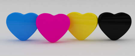 Four Paint cmyk Heart  on white