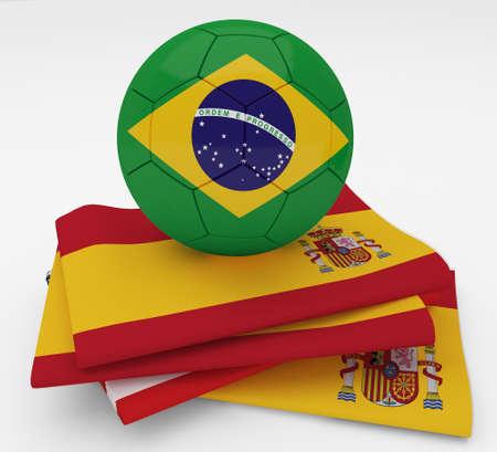 Soccer football ball with Spain flag  Stock Photo