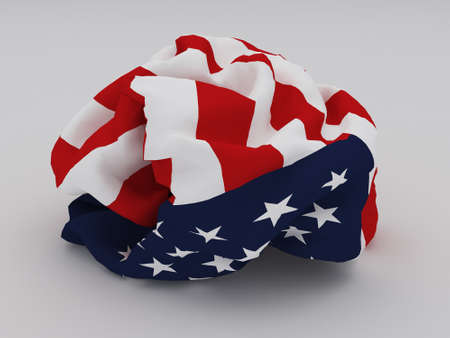 crumpled American Flag on white background