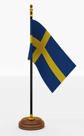 schweden flagge: Schweden-Flaggen-B�ro auf wei�em Hintergrund Lizenzfreie Bilder
