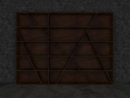 cubby: Blank wood cabinet interior with concrete wall