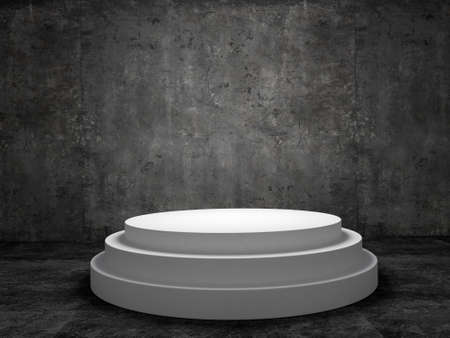 staging: Blank winners white podium in room  concrete wall