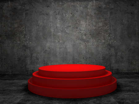 staging: Blank winners red podium in room  concrete wall Stock Photo