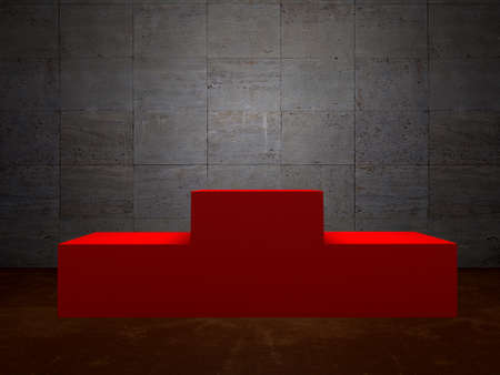 Blank winners red podium in room  concrete wall Stock Photo