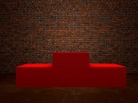 Blank winners red podium in room  brick wall