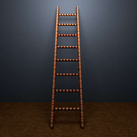 Ladder of Success  in interiors perspective on background texture  created on computer photo