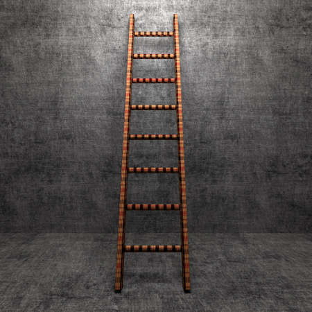 Ladder of Success  in interiors perspective on background texture  created on computer Stock Photo