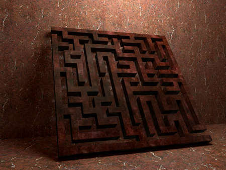 A labyrinth  in interiors perspective on background texture  created on computer photo