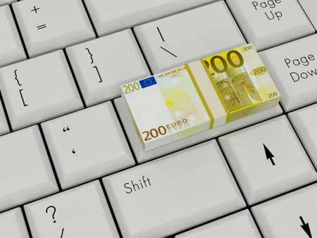 Laptop Keyboard With euro money On Enter Key photo