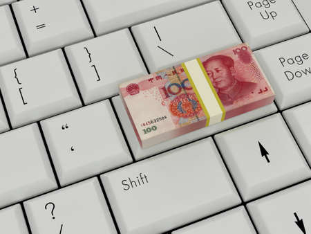 Laptop Keyboard With chinese money On Enter Key photo