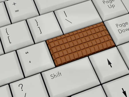 Laptop Keyboard With chocolate Enter Key photo
