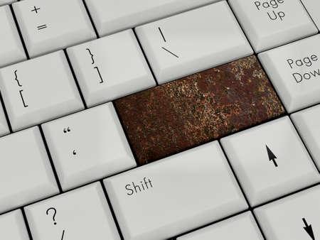 Laptop Keyboard With grunge Enter Key