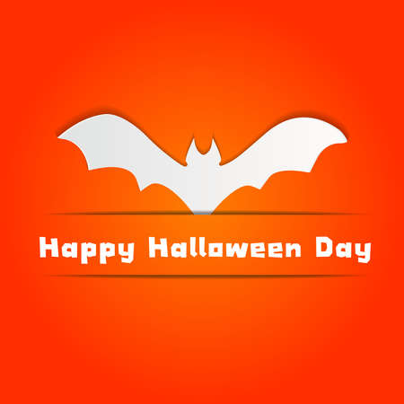 Halloween concept with Bat on Orange wall Background Vector