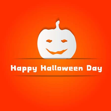 Halloween concept with  Pumpkin on Orange wall Background Vector